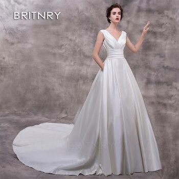 81b00f03e4df8a6 BRITNRY Новый Романтический V образным вырезом Элегантное свадебное платье  принцессы 2019 пятно S бальное vestido De Noiva