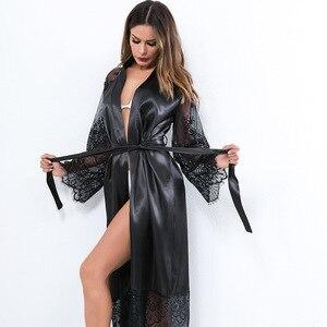 Image 3 - Grande taille Sexy pyjama Robe Lingerie avec Robe à manches longues dentelle chemise de nuit avec ceinture vêtements de nuit Satin femmes demoiselle dhonneur peignoir