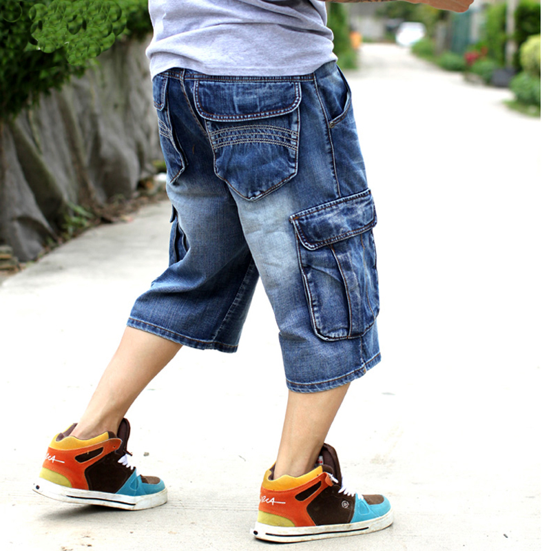 US $26.66 40% OFF|Mens Plus Size Loose Baggy Denim Short Men Jeans Fashion Streetwear Hip Hop Long 34 Capri Cargo Shorts Pocket Bermuda Male Blue in
