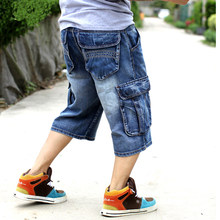 Mens Plus Size Losse Baggy Denim Korte Jeans Fashion Streetwear Hip Hop Lange 3/4 Capri Cargo Shorts Pocket Bermuda mannelijke Blauw(China)