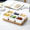 Керамические DIY отдельные квадратные закуски для посуды сухая фруктовая десертная тарелка с бамбуковым лотком гайка Салатница набор домаш...