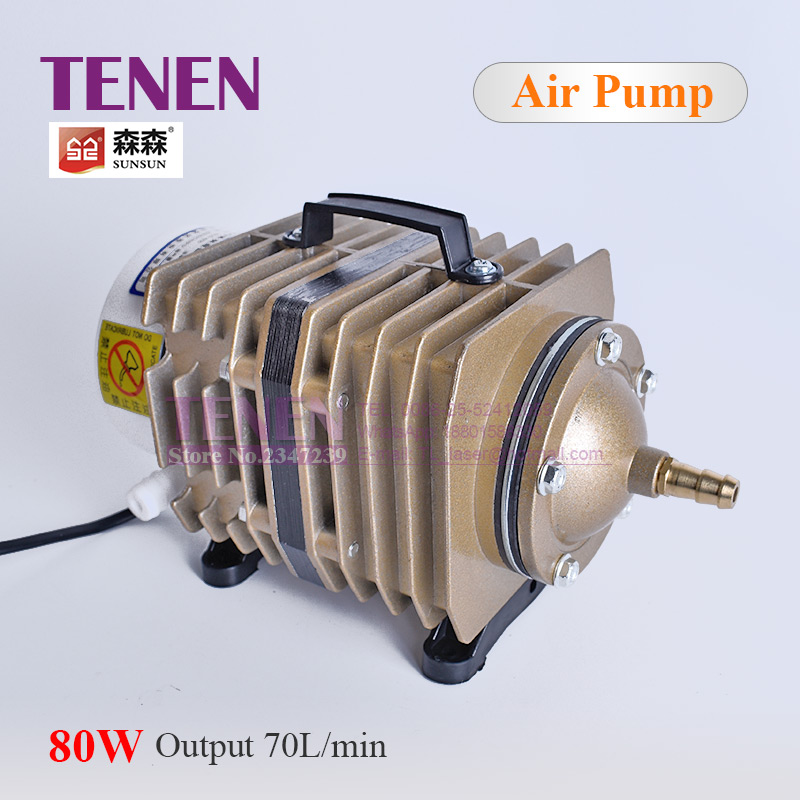Electromagnetic Air Compressor 70L Min ACO 005 SUNSUN Air Pump 80W With Check Valve Air Stone