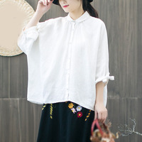 2019 New Spring Vintage Women Bat Sleeve Blouses Chinese Style Tops Linen Shirts Button Solid Color Casual Shirt