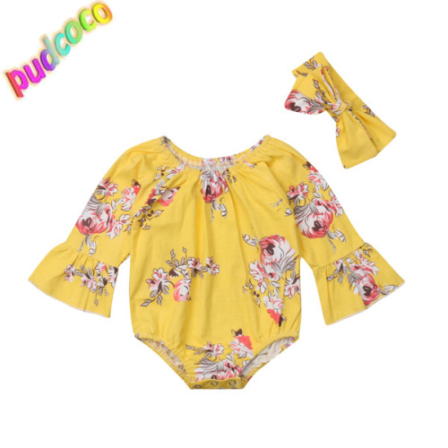 2018 Lovely Newborn Baby Girls Flower Romper Jumpsuit Outfits Clothes Playsuit Hot