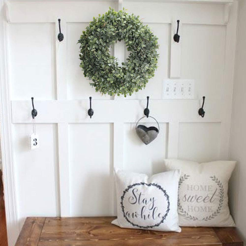 Artificial Green Leaves Wreath 17 5 Inch Front Door Wreath Shell Grass Boxwood Wreath For Wall Window Party Decor in Wreaths Garlands from Home Garden