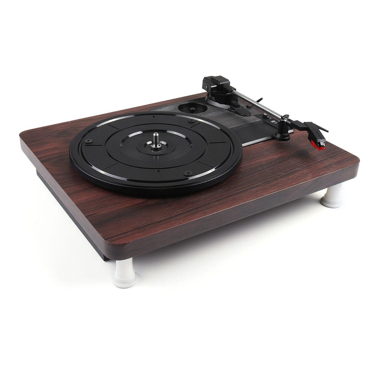 33, 45, 78 tr/min lecteur de disque Antique Gramophone tourne-disque vinyle Audio RCA R/L 3.5mm sortie USB DC 5V couleur bois - 3
