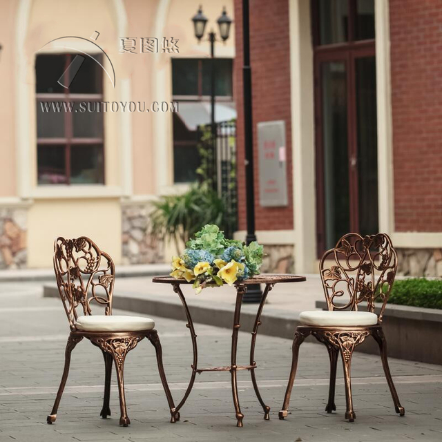 Us 189 91 5 Off Aliexpress 3 Piece Cast Aluminum Table And Chair Patio Furniture Garden Outdoor No Cushion From