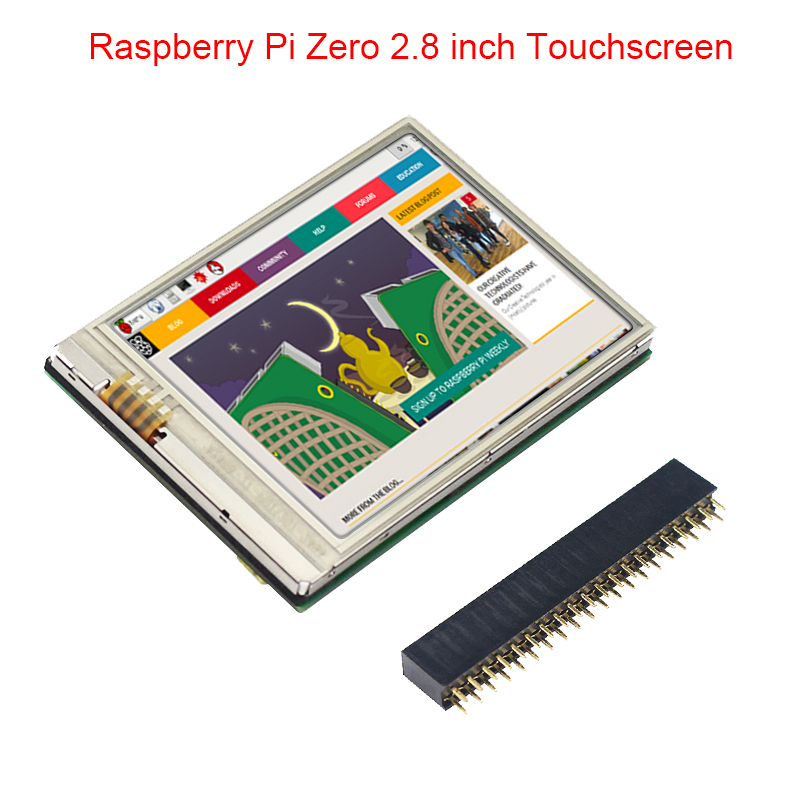 2.8 Inch Raspberry Pi Zero Touch Screen 60 FPS HD LCD + GPIO Header For Raspberry Pi Zero W / 1.3 Monitor 2.8