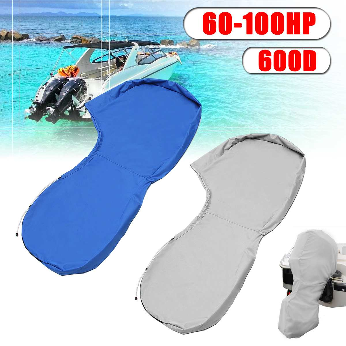 600D 66.93 Inch For 100-150HP Hose Power Boat Full Outboard Engine Motor Cover Waterproof