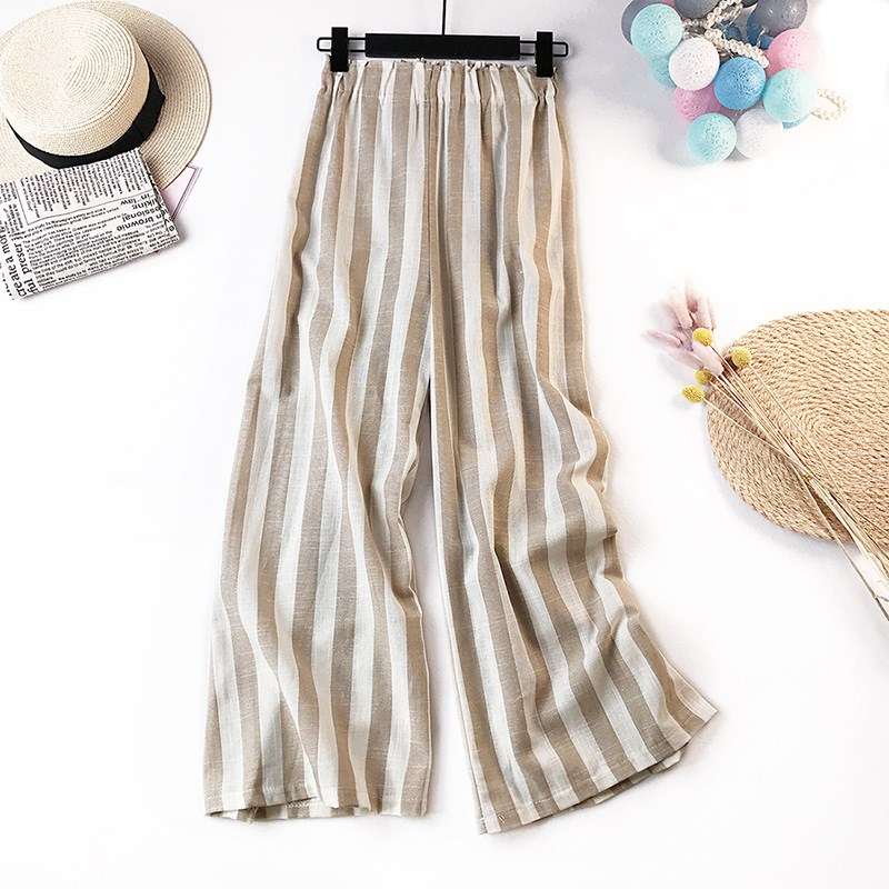 Cotton Linen Striped Pants Women Summer Plus Size Long Trousers Female Autumn Casual Loose Mid Waist Wide Leg Pants in Pants amp Capris from Women 39 s Clothing
