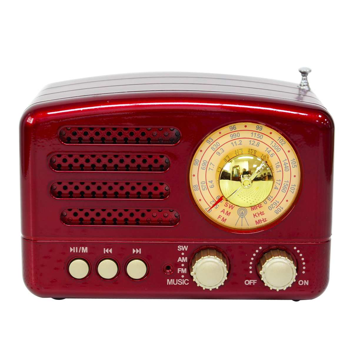 130x90x70mm rouge/café Portable rétro Radio AM FM SW bluetooth haut-parleur TF carte Slot USB charge maison voyage Mini Radio