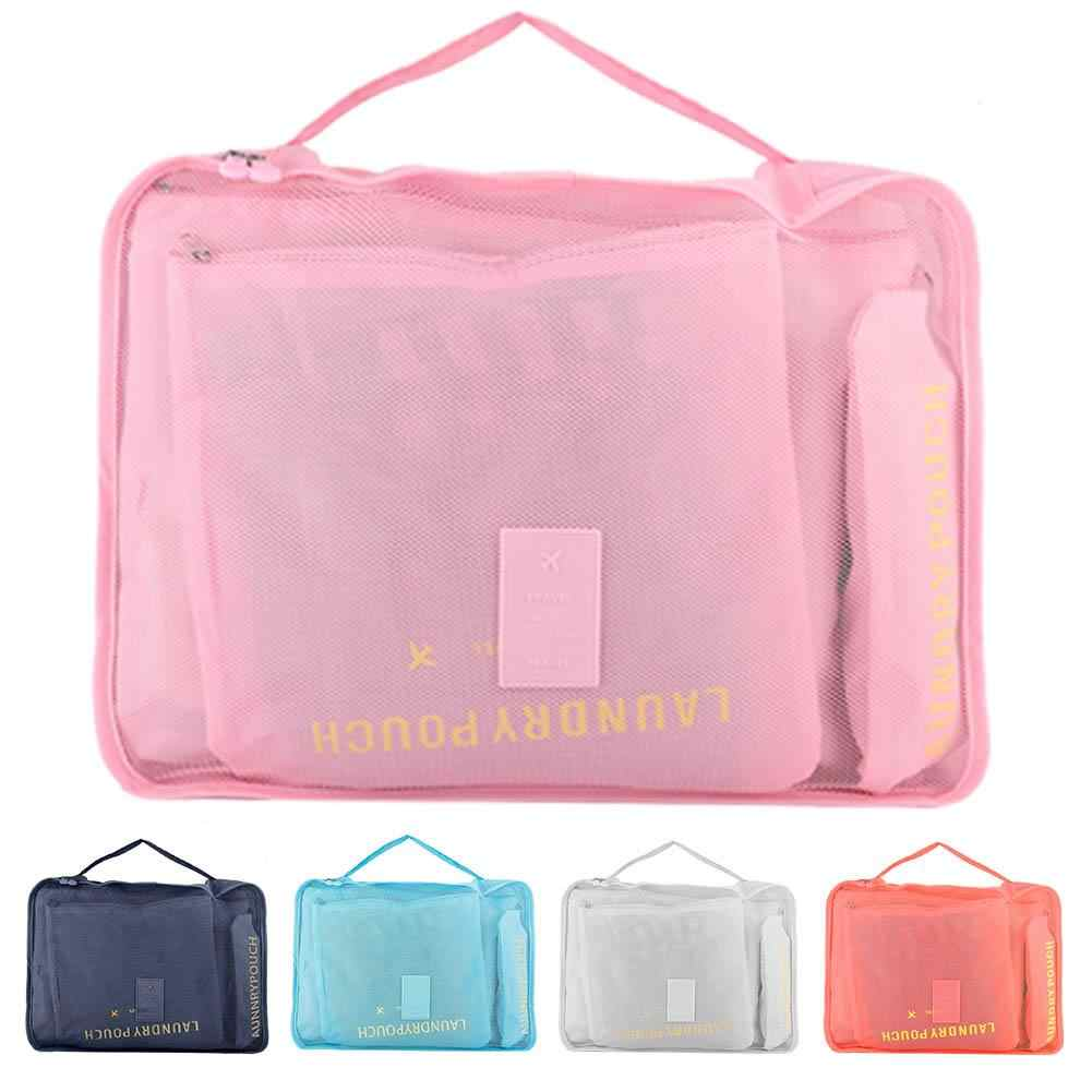 zip lock plastic 6Pcs Travel Clothes Storage Pouch Bags Portable Suitcase Luggage Organizer Case  storage bag
