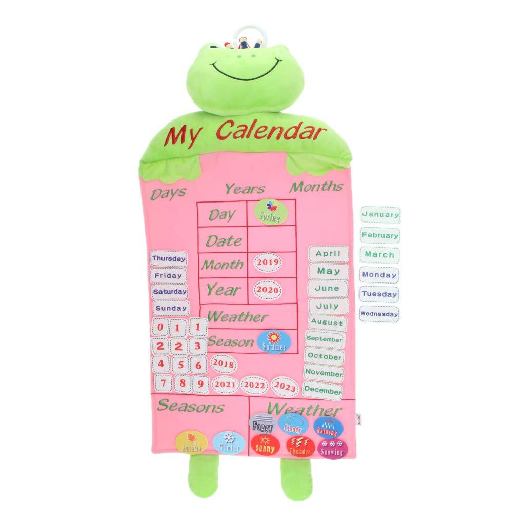 Calendrier de dessin animé en peluche avec anneau à crochet décoration de chambre d'enfants jouets éducatifs cadeau d'anniversaire pour enfants enfants en bas âge
