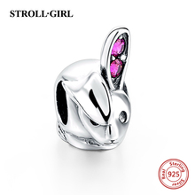 StrollGirl 925 Sterling Silver Lovely Rabbit Fits Pandora Charms Bracelet European Style Women DIY Fashion Jewelry