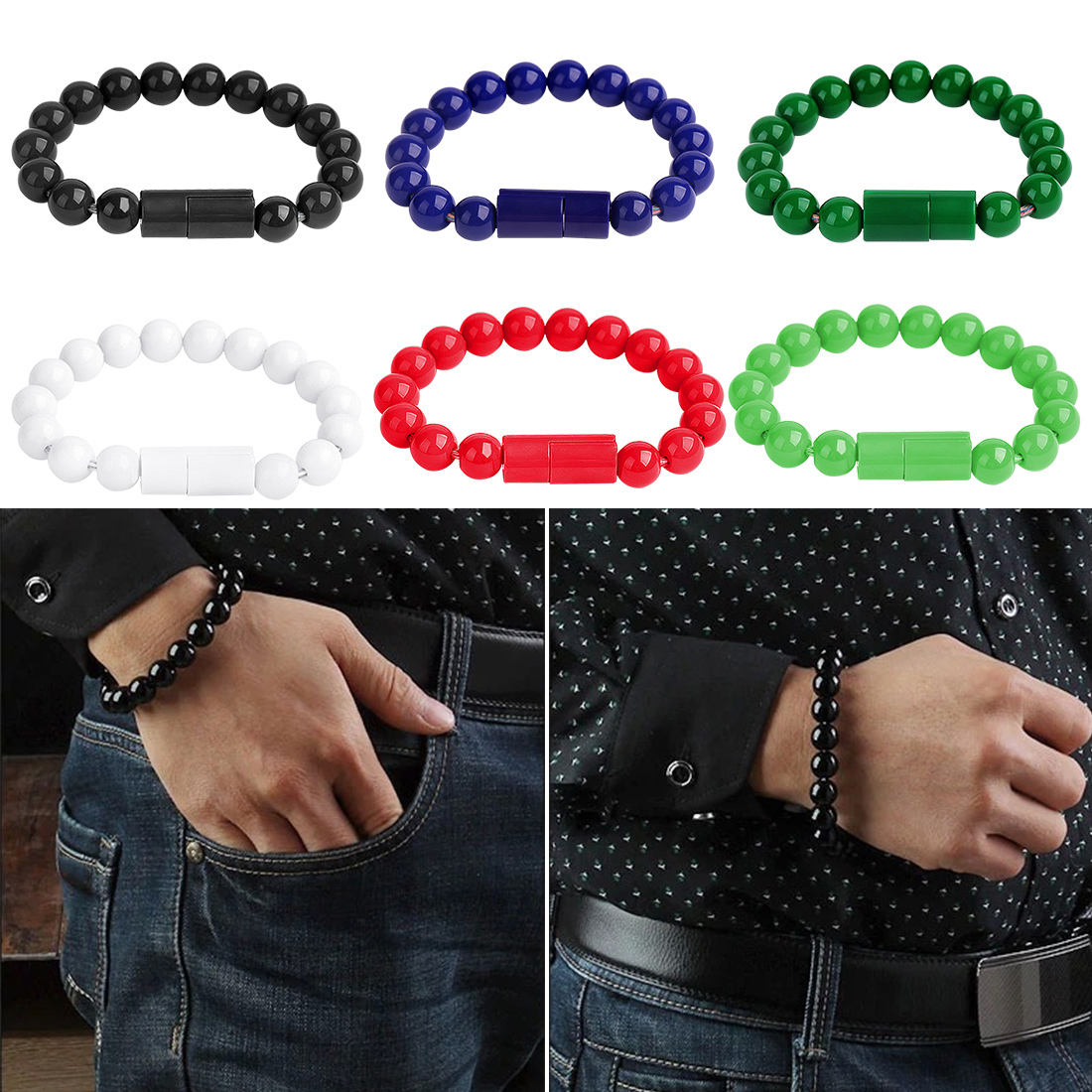 Fashion Wearable Usb Charging Bracelet Beads Charging Cable Portable