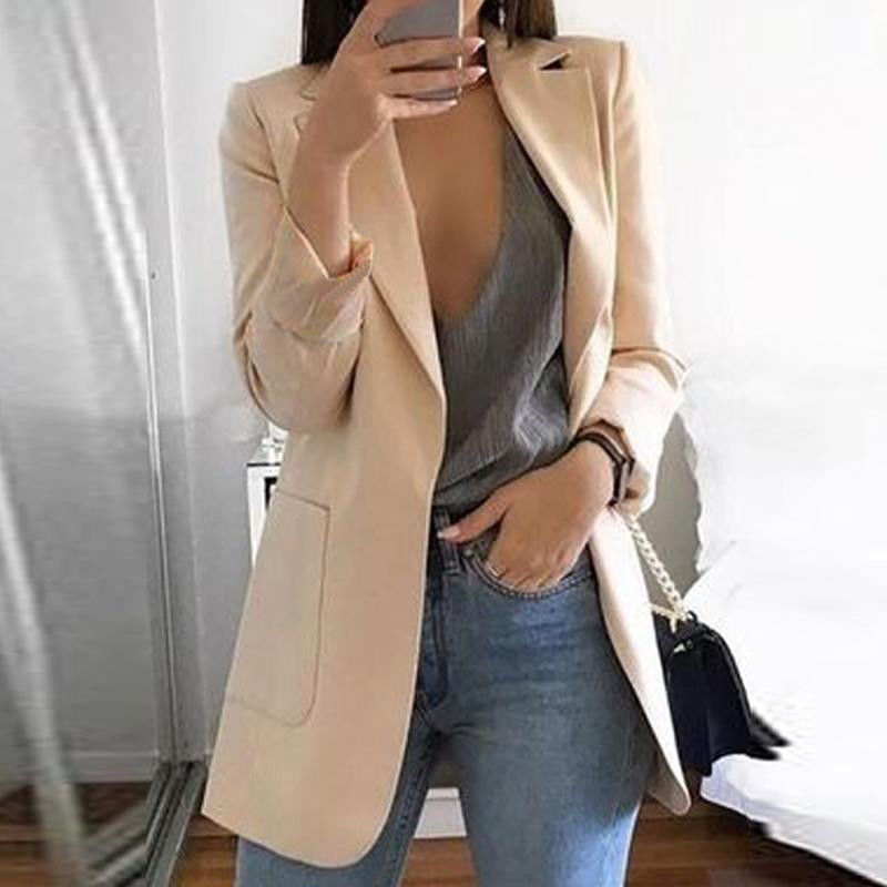 New Fashion Slim Blazers Women Autumn Suit Jacket Female Work Office Lady Suit Black With Pockets Business Notched Blazer Coat