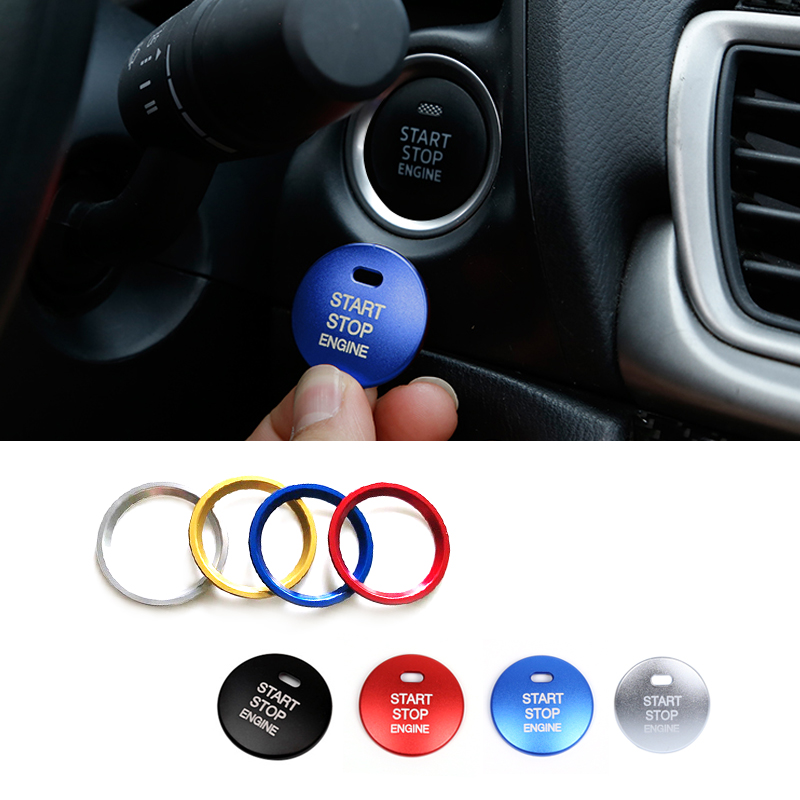 For <font><b>Mazda</b></font> <font><b>3</b></font> Axela CX-<font><b>3</b></font> CX-4 CX-5 Aluminum Alloy Interior Mouldings <font><b>Engine</b></font> Start Stop Button Ring <font><b>Cover</b></font> Trim image
