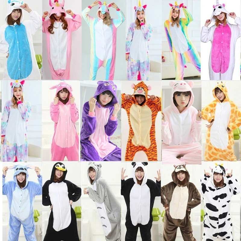 Animal Kigurumi Onesie Adult Women Onesies For Adults One Piece  Fleece Loose Cute Pajamas Winter Sleep Suit Pijama De Unicornio