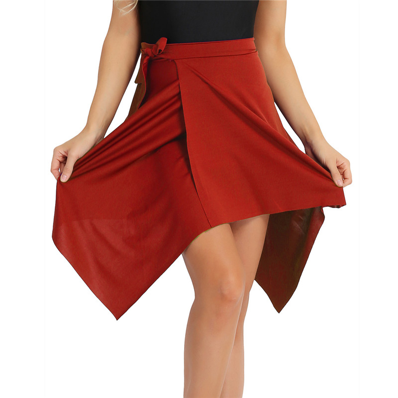 MSemis Women Latin Dance Wrap Skirt Adult Asymmetric Stretchy Latin Skirt Ballet Tango Belly Skirt Skating Over Scarf With Tie