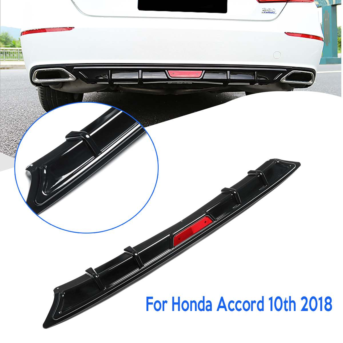 NEW Rear Bumper Lip Diffuser Garnish Body Kit for Honda for Accord 10th 2018 Auto Exterior Part Black Gloss Bumper Skirt Spoiler