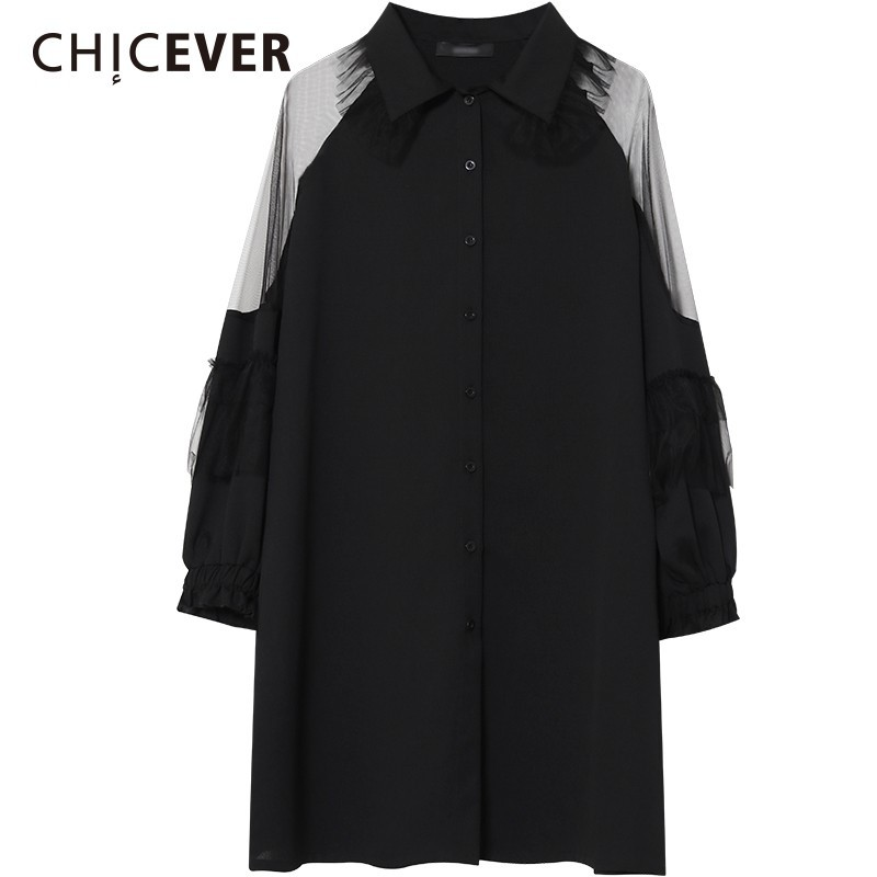CHICEVER Patchwork Mesh Women Tops And   Blouses     Shirts   Lapel Long Sleeve Loose Perspective Oversize   Blouse   Casual Clothes Tide