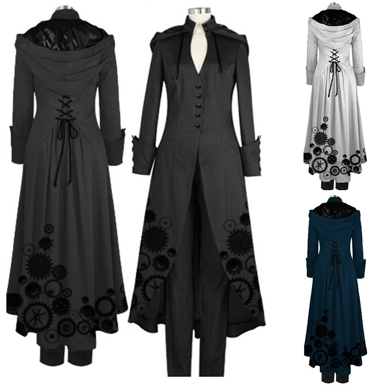 Best seller  list s-2xl 2018 new fashion Women Steampunk Victorian Gothic Jacket Medieval Maxi Long Coat victorian Costume