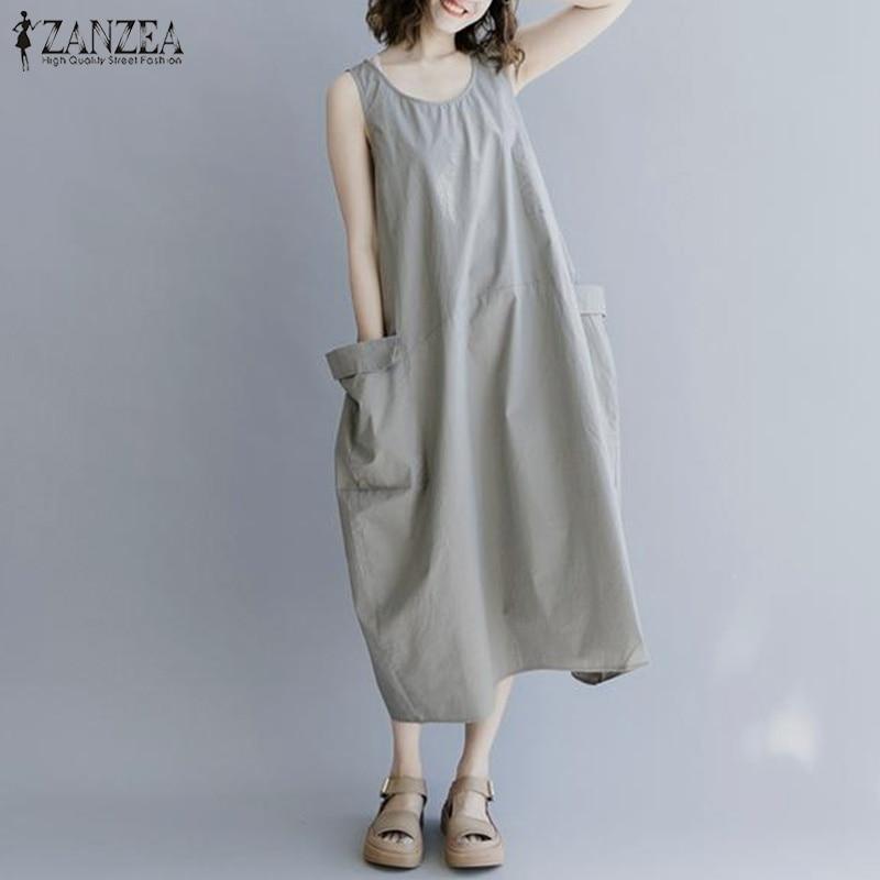 ZANZEA Women Sleeveless Long Maxi Dress Ladies Casual O Neck Long Shirt Vestidos Vintage Solid Party Beach Kaftan Robe Plus Size