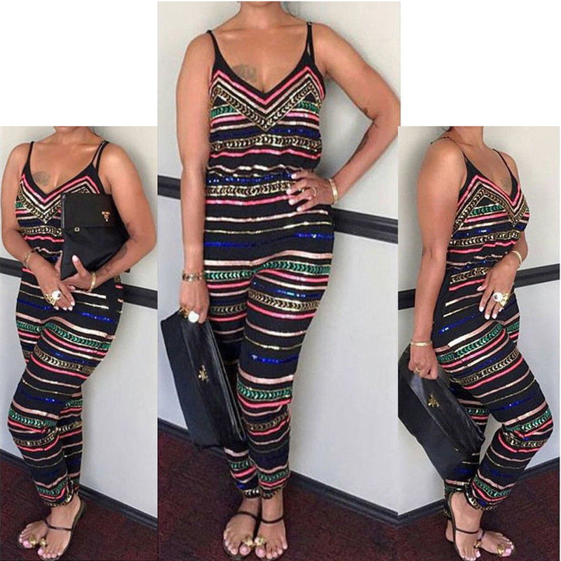 Women's Colorful Striped Jumpsuit V-neck Loose Casual Strapless Jumpsuit Long Pants