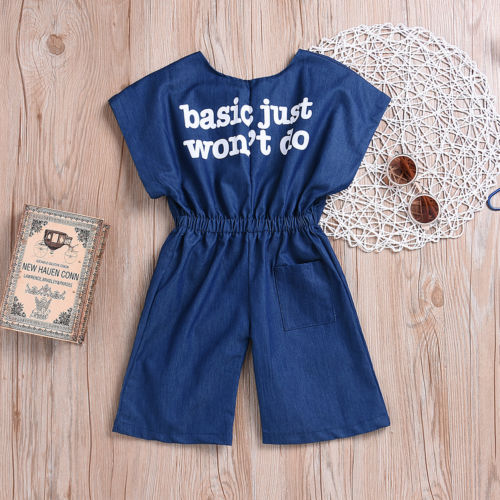 05968d1a350d 2019 Newborn Toddler Baby Girl Kid Denim Letter Loose Romper Jumpsuit  Playsuit Set UK-in Overalls from Mother   Kids on Aliexpress.com