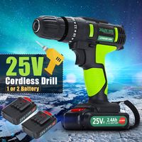 25V 220V Cordless Impact Drill Wireless Electric Screwdriver 3/8'' Driver Rechargable Lithium Batteries *2 Power Tools 2 Speed
