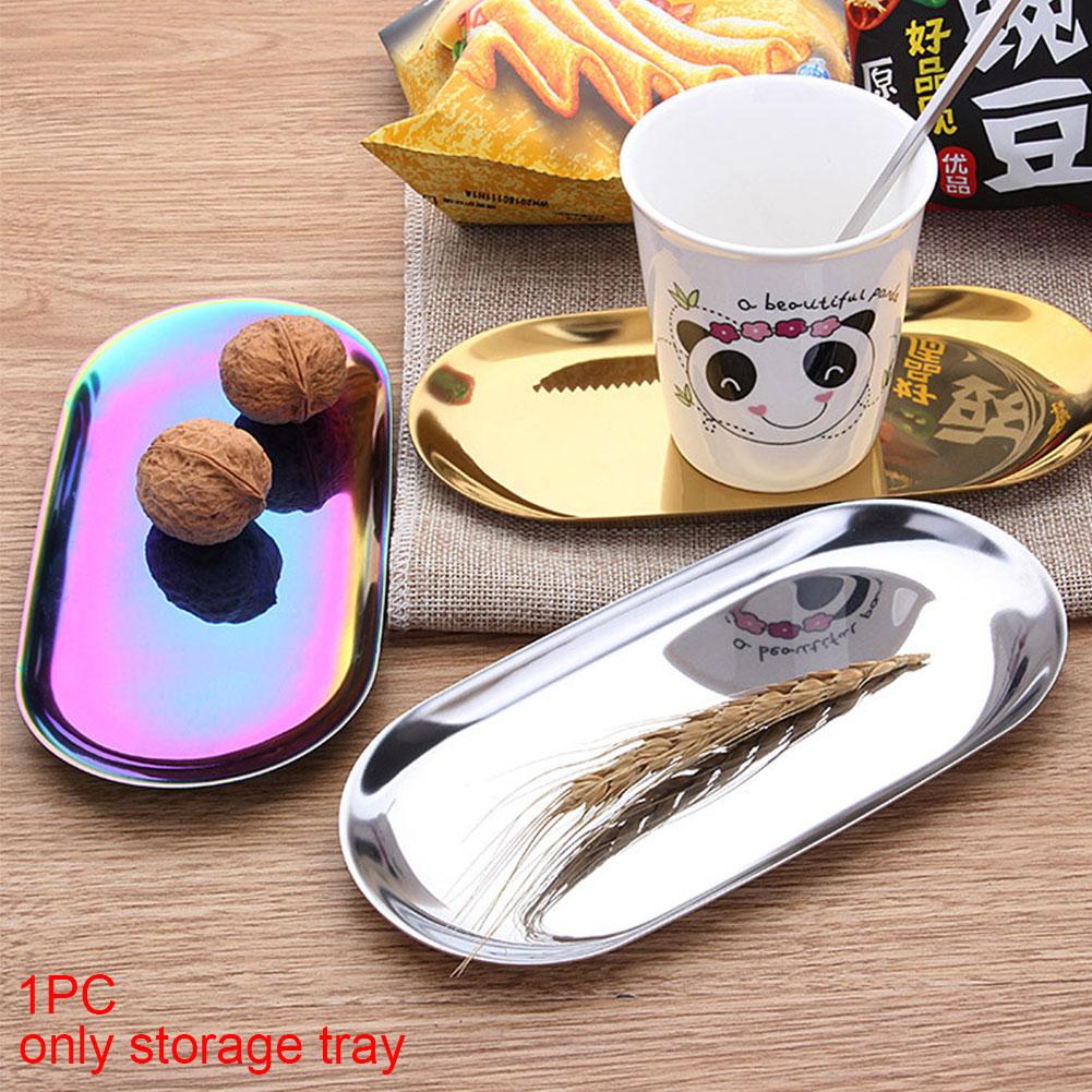 Stainless Steel Storage Tray Oval Tray Snack Fruit Jewelry Plate Organizer