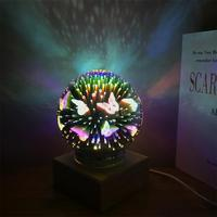 Creative 3D Glass Cover LED Night USB Light Star 3W 5V As Picture Butterfly Round Desk Lamp Home Decor