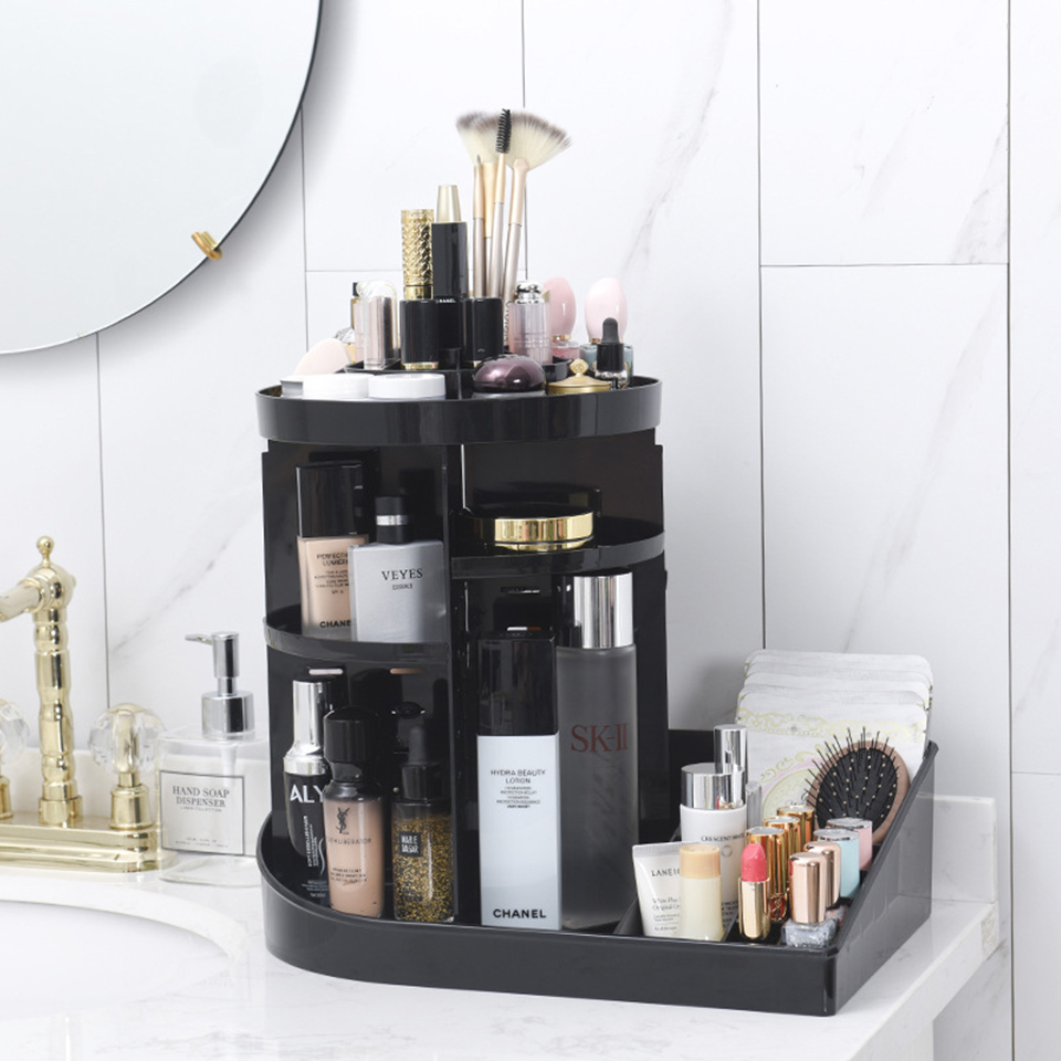 Large Fashion 360 Degree Rotating Makeup Organizer Box Storage Makeup Brushes Box Lipstick Holder Cosmetic Nail Polish Organizer