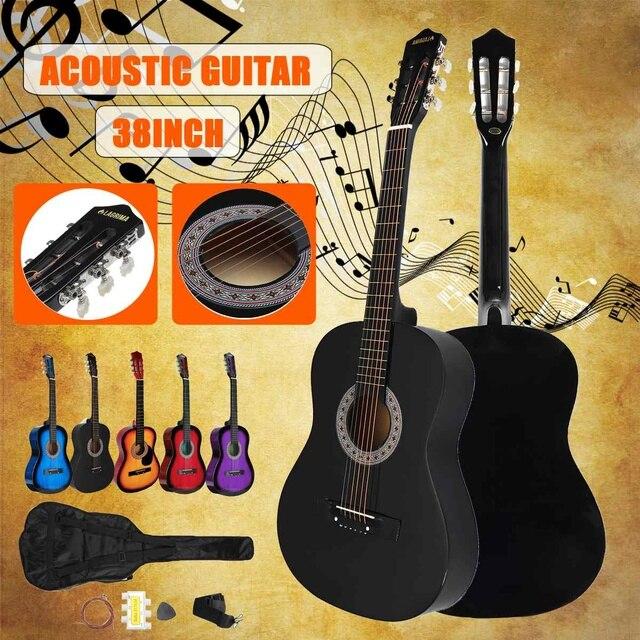 """38 """"iniciantes Violão com Caixa Da Guitarra, Correia, Tuner & Pick Aço Cordas Da Guitarra Instrumentos Musicais"""