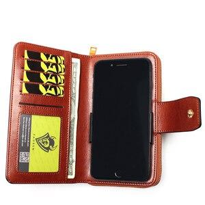 Image 4 - Женский кошелек, деловой клатч из натуральной кожи, съемный браслет кошелек, скользящая многофункциональная сумка с зажимом для телефона