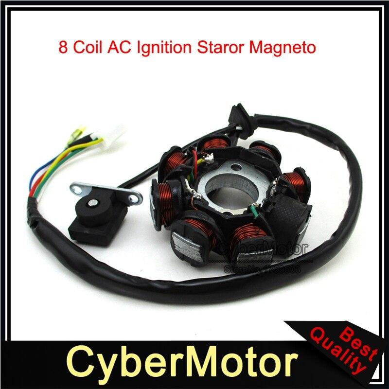 8 Катушка полюс переменного тока статор зажигания магнето для GY6 50cc двигатель Скутер мопед ATV Quad картинг багги