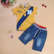 Boys denim suit wholesale letter short-sleeved lapel T-shirt + shorts children's clothing