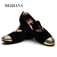 MEIJIANA 2019 moda marka męskie buty ręcznie skórzane wygodne buty męskie męskie mokasyny buty bankietowe
