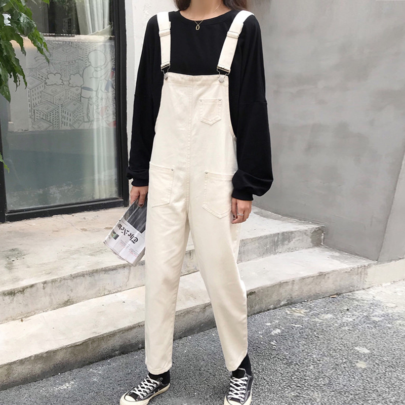 Spring Summer Women Loose Straight Denim Jeans Pants Solid Color Sleeveless Overalls Straps Jumpsuit Casual Romper