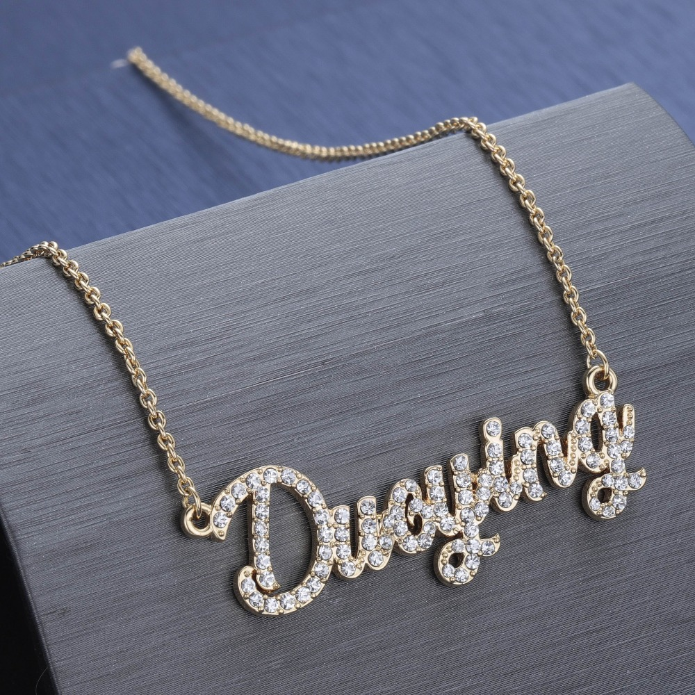 Duoying Crystal Pendant Necklace for Women Stone Chain Zirconia Necklaces Women Personalized Necklace with Names Initial Letters