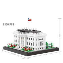 hot LegoINGlys creators city Street view US Washington White House presidential palace Micro Diamond Block model brick toys gift