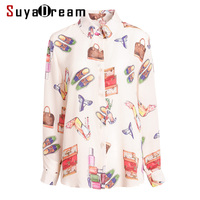 Women Blouse 100% REAL SILK Crepe Printed Long Sleeved Blouses for Women 2019 Spring Summer Office lady shirt