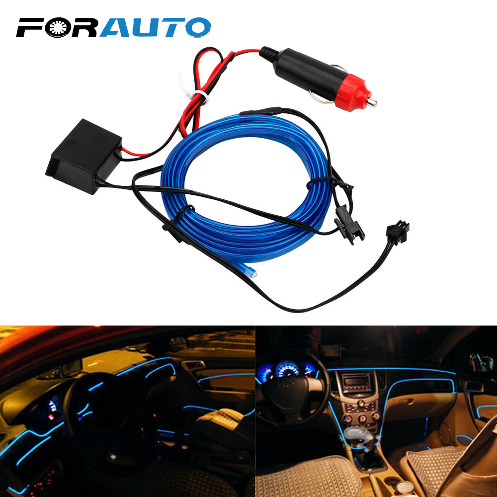 FORAUTO 2m Car Styling DIY EL Cold Line Flexible Interior Decoration Moulding Trim Strips Light For Motorcycle And Cars