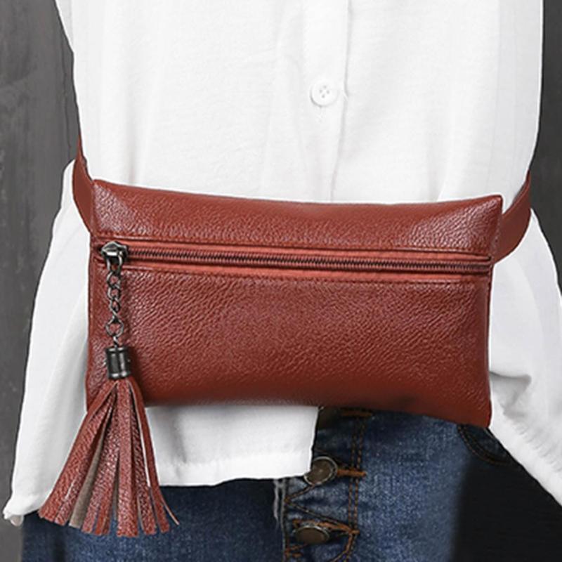 2019 Fanny Pack Women New Leather Waist Bags Mini Portable Phone Bag Female Belt Bag Purse Tassel Chest Handbags Bolsa