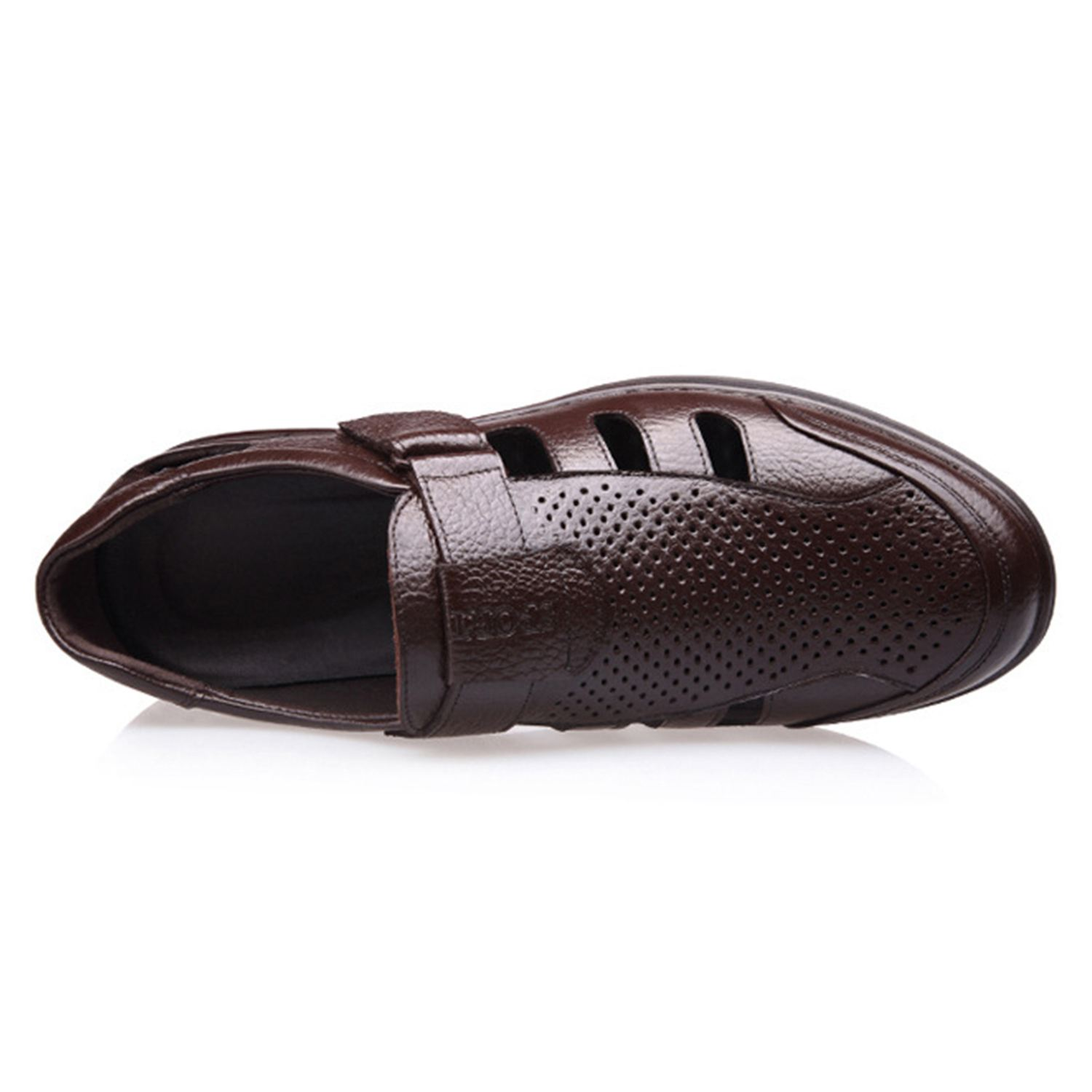Image 4 - FGGS Genuine Leather Men Sandals Shoes Fretwork Breathable Fisherman Shoes Style Retro Gladiator Soft Bottom summer Classics m-in Men's Sandals from Shoes