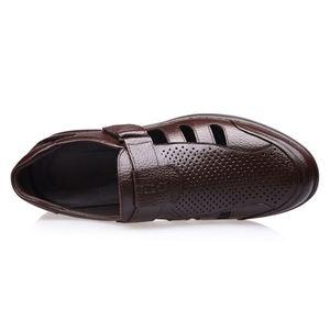 Image 4 - FGGS Genuine Leather Men Sandals Shoes Fretwork Breathable Fisherman Shoes Style Retro Gladiator Soft Bottom summer Classics m