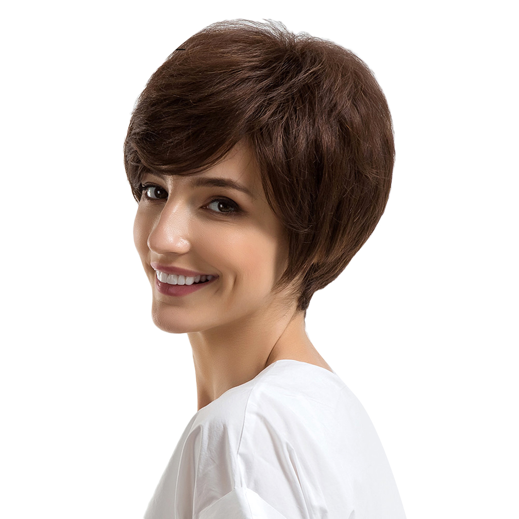 Chic Short Wigs for Women Human Hair w/ Bangs Fluffy Pixie Cut Wig Brown graceful short side bang fluffy natural wavy women s capless human hair wig