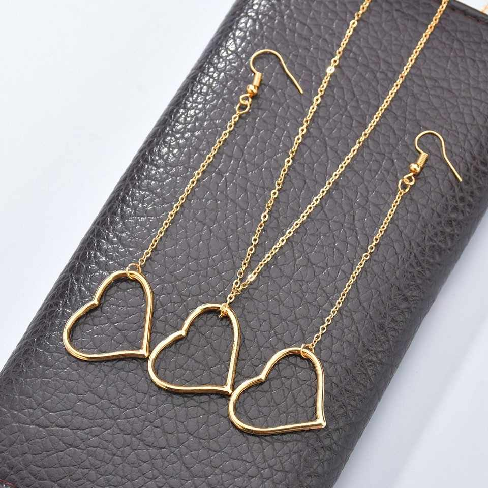 YANGQI Fashion Love Heart Drop Earrings For Women Fashion Element Design Long Chain Earrings Female Personality Cold And Silver
