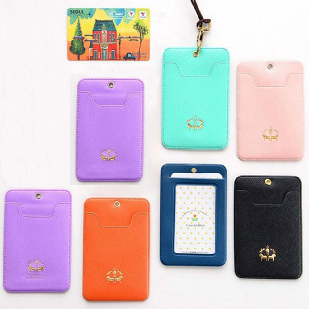 Candy Color ID Card Cover IC Card Bus Card Cover PU leather Necklace Type Card Jacket Dropshipping #0131