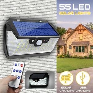 Image 2 - 800LM 55LED Solar Light PIR Motion Sensor Outdoor Garden Wall Lamp USB Rechargeable Remote Control LED Solar Light